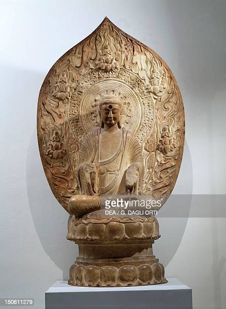 Buddha Amitabha marble relief in Northern Qi style from the Hebei Province China height 100 cm Chinese Civilisation Liao Dynasty 10th12th century