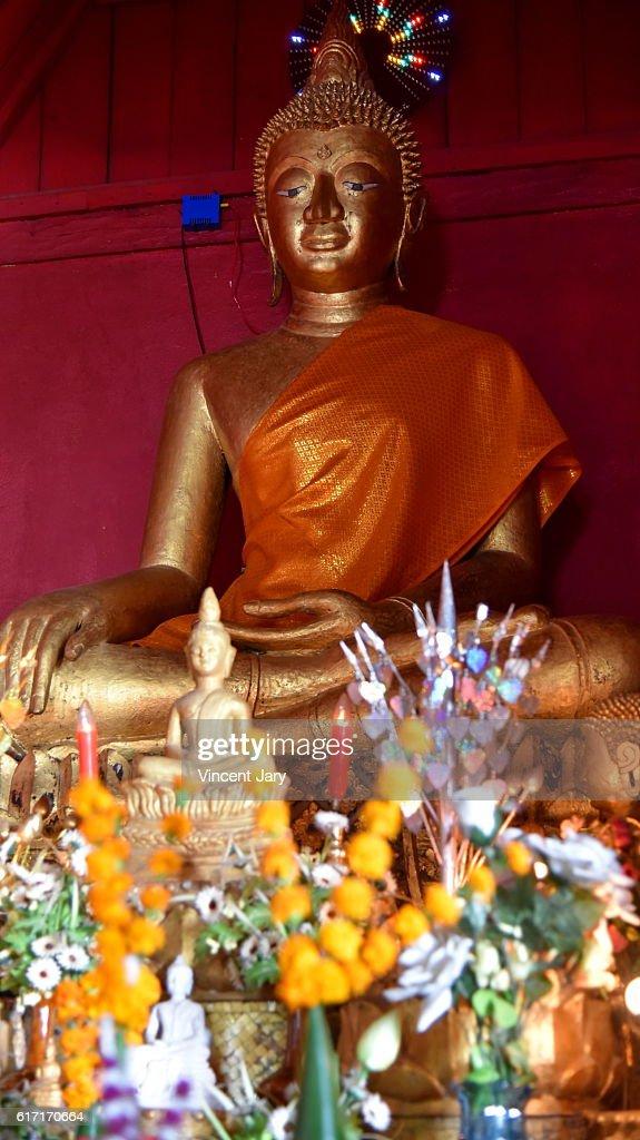 Buddha at Wat Souvannakhiri temple Luang prabang Laos Asia : Stock Photo