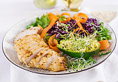 Buddha bowl dish with chicken fillet, avocado, red cabbage, carrot, fresh lettuce salad and sesame. Detox and healthy keto diet bowl concept. Overhead
