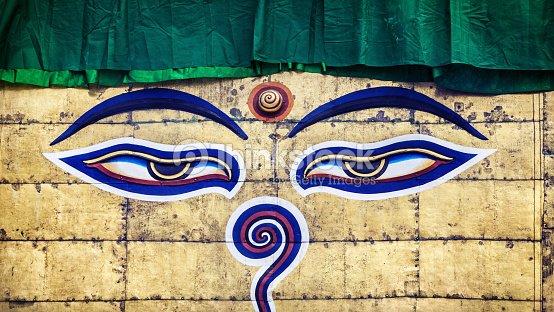 Buddha Eyes On Swayambhunath Stupa Stock Photo Thinkstock