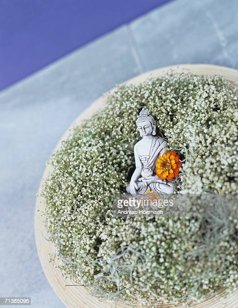 Buddha figurine embedded on baby's breath (Gypsophila)