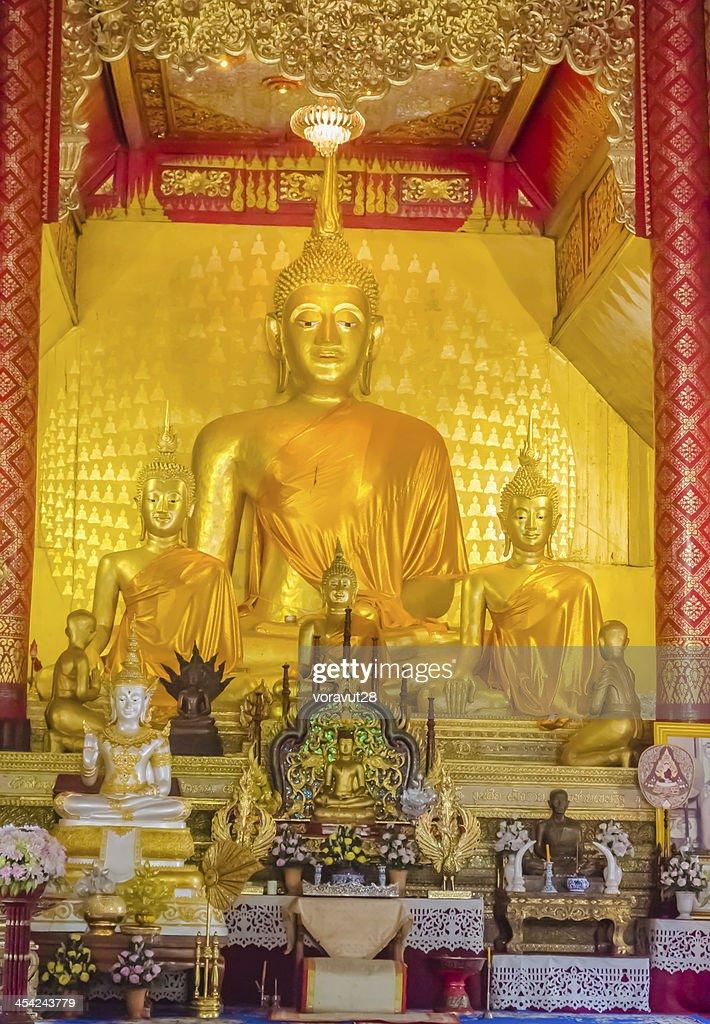 buddha image inside the church. : Stock Photo