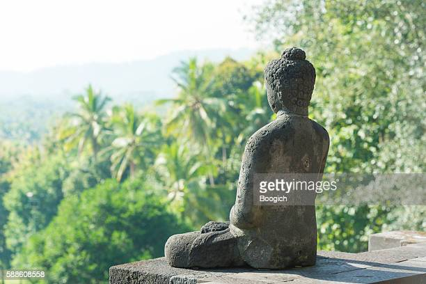 Buddha Sculture with Palm Trees in Ancient Indonesian Borobudur Temple