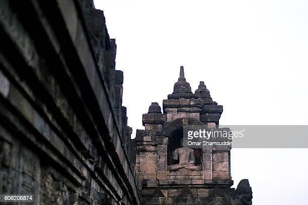 A buddha statue at Borobudur ruin