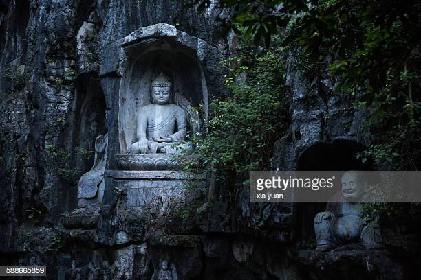Buddha Statue in Peak Flown From Afar,Hangzhou