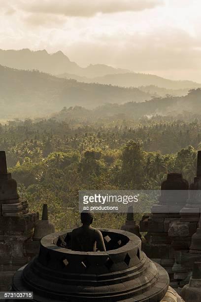 Buddha statue on Temple of Borobudur, Borobudur, Indonesia