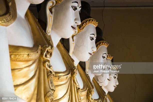 Buddha statues in a pavilion near Kyaik Than Lan Pagoda in Mawlamyine, Mon State, Southern Myanmar (Burma)