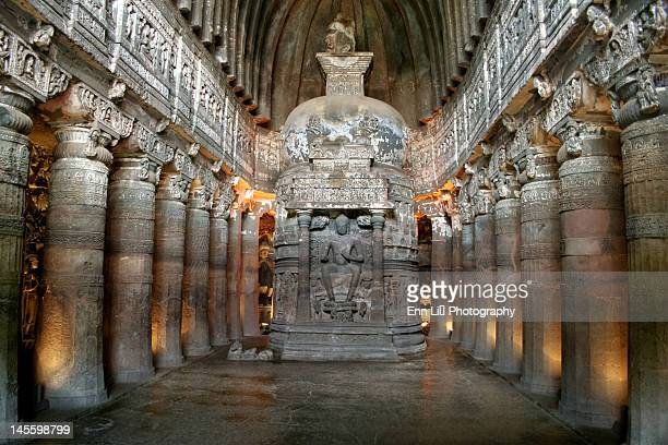 Buddha statues in cave, Ajanta