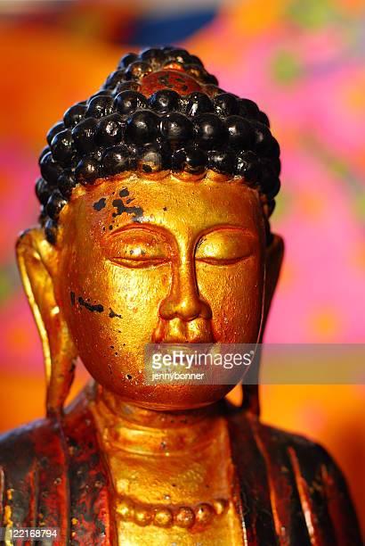 Buddhism: Golden Buddha Head Statue