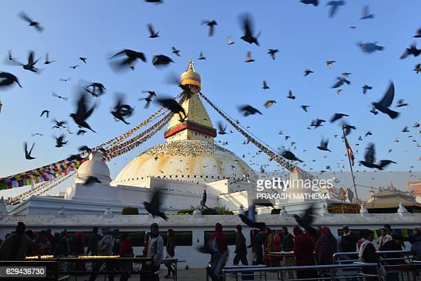 Buddhist devotees circle Boudhanath Stupa on the outskirts of Kathmandu on December 13 as pigeons fly around the site Boudhanath Stupa was among...