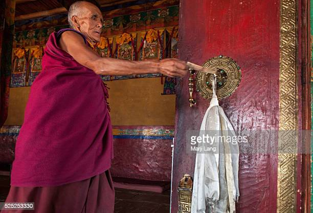 Buddhist monk after the daily morning puja in Diskit monastery in Nubra valley
