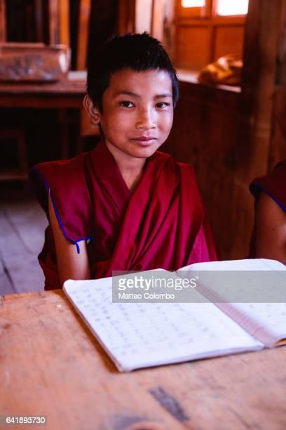 Buddhist monk at school, Upper Mustang, Nepal