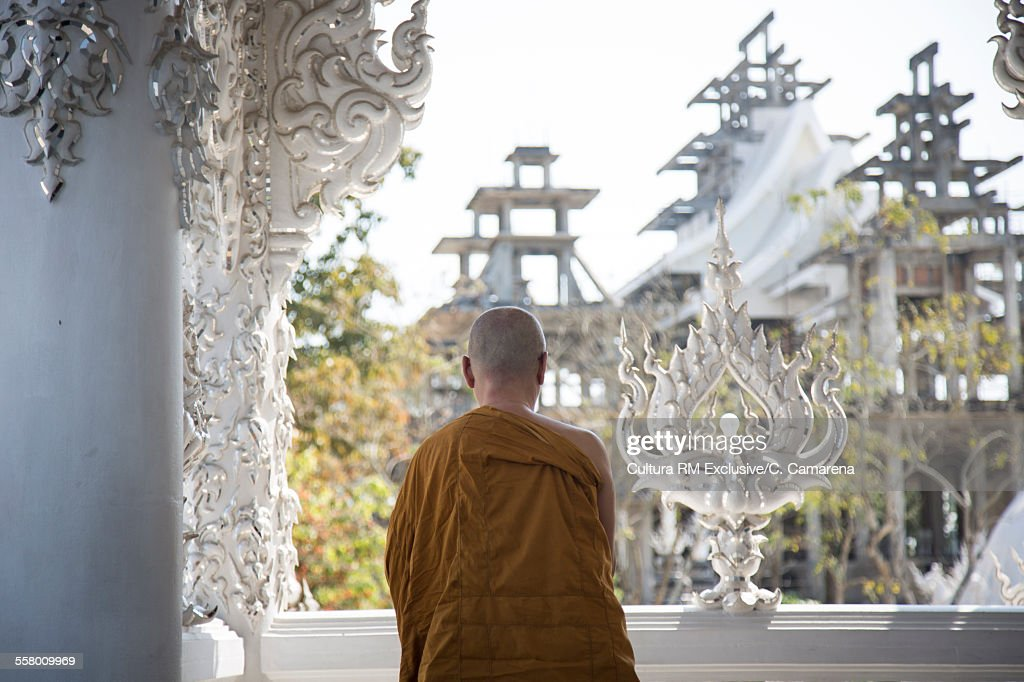 Buddhist monk at The white temple, Wat Rong Khun, Chiang Rai Province, Thailand