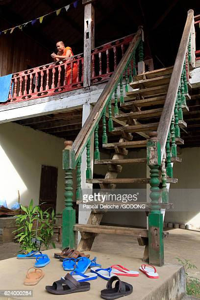 Buddhist monk in his house