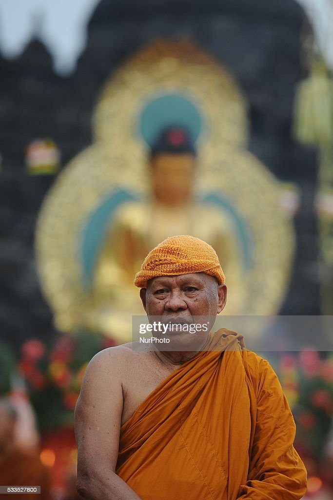 Buddhist monk Luang Po Dhamavarachan of Thailand attend to Vesak celebration at Borobudur Temple on May 21 2016 in Magelang Indonesia Millions of...