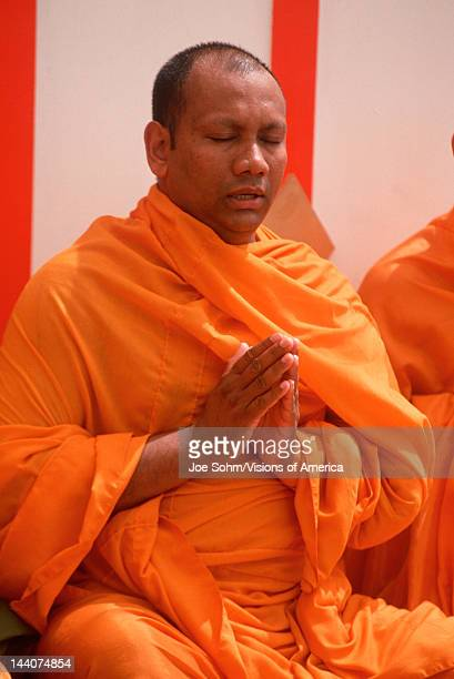 A Buddhist monk meditating Lotus Festival in Echo Park Los Angeles CA