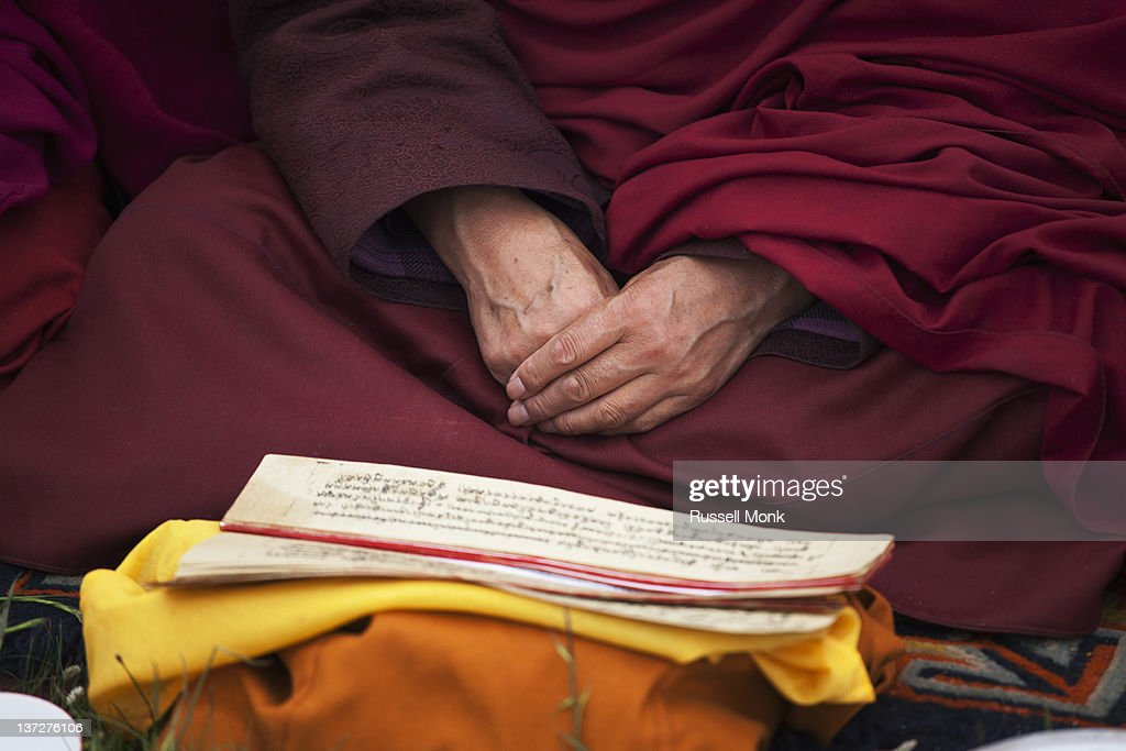 A Buddhist monk studying his prayers : Stock Photo