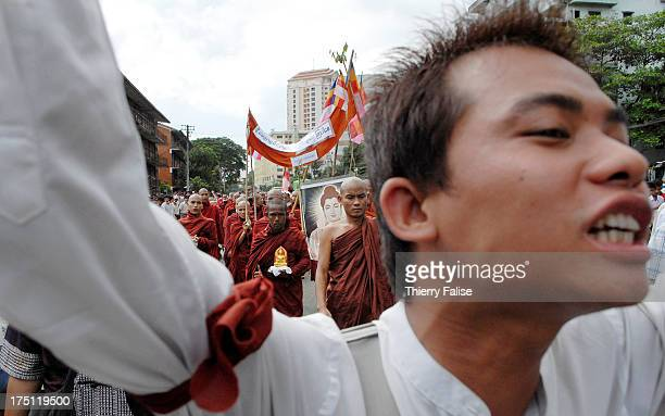 Buddhist monks and civilians are demonstrating against the military junta Tens of thousands of monks demonstrated in Myanmars main cities a swelling...