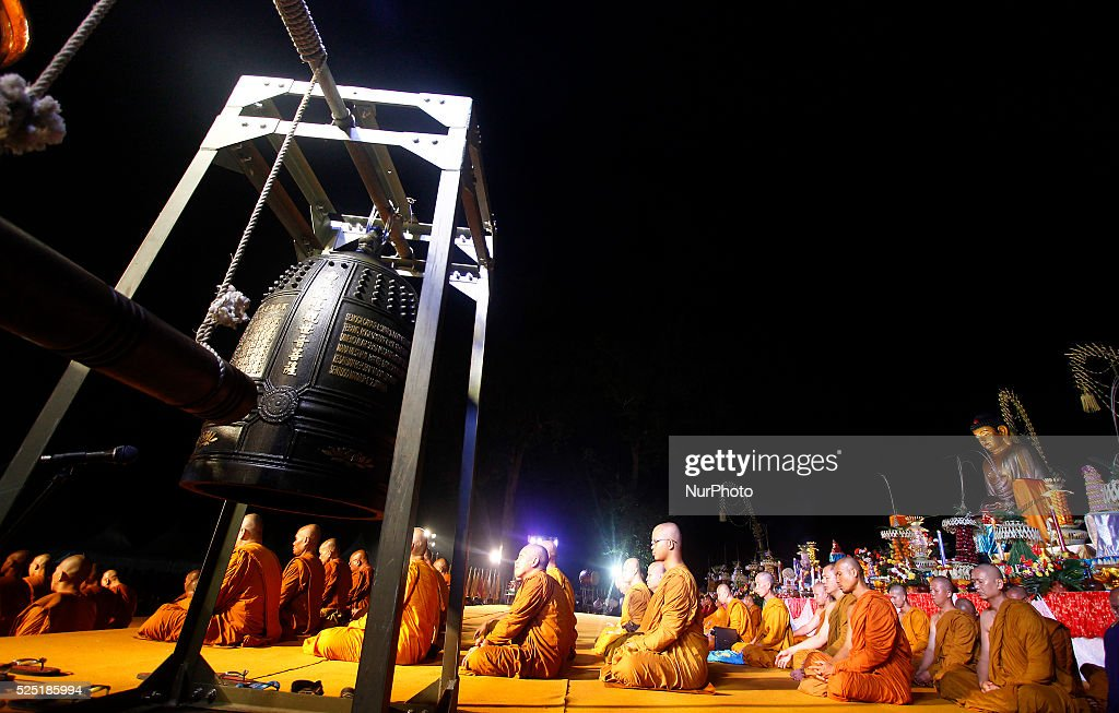 Buddhist monks following the Vesak Day celebration on June 3 2015 in Borobudur Temple Magelang Central Java Indonesia Vesak is observed during the...