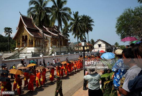 Buddhist monks parade2 during the Songkran festival on April 15 in Luang Prabang Laos The Songkran Festival runs from April 13 April 15 and is the...