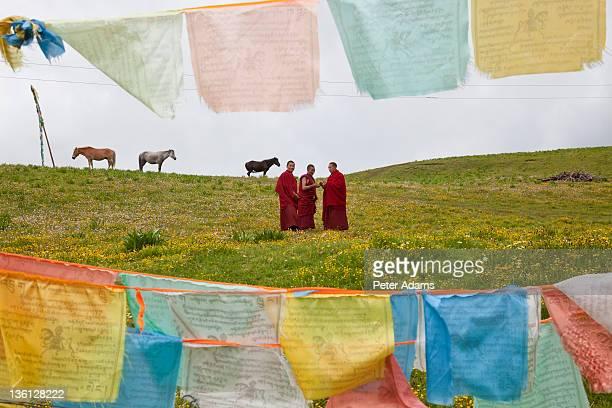 Buddhist monks & prayer flags Xinlong, China