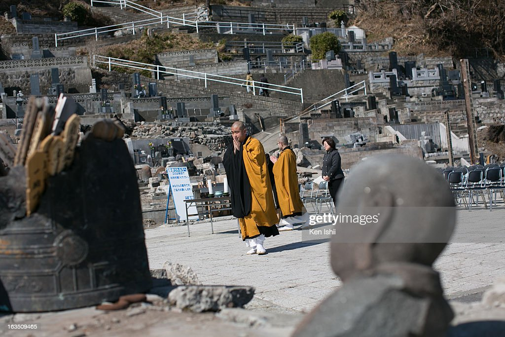 Buddhist monks prepare to hold a memorial service at a temporary Kouganji Temple on March 11, 2013 in Otsuchi, Iwate, Japan. The original temple was washed away during the tsunami two years ago. On March 11 Japan commemorates the second anniversary of the magnitude 9.0 earthquake and tsunami that claimed more than 18,000 lives.