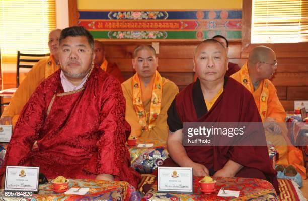 Buddhist monks wait for the arrival of His Holiness the 17th Gyalwang Karmapa Ogyen Trinley Dorje The Karmapa visited the Karma Tekchen Zabsal Ling...
