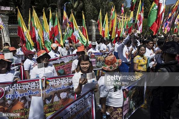 Buddhist nationalists take part in a rally outside the Thai embassy in Yangon on February 24 2017 Myanmar Buddhist nationalists rallied outside the...