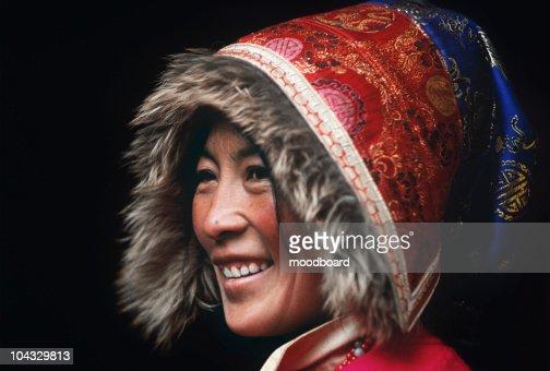Buddhist Nun Wearing Traditional Clothing : Stock Photo