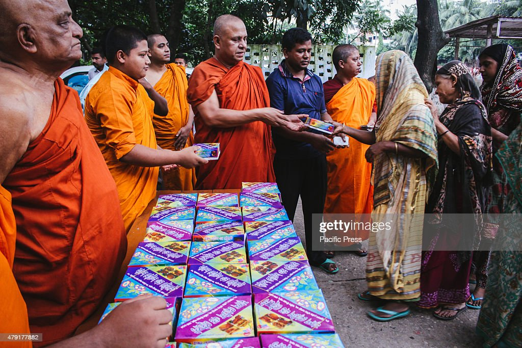 A Buddhist Organization named 'Dhormorajik Buddho Mohabihar' is giving quality food as 'Iftar' for free to poor fasting Muslims who can't afford good food throughout the holy month of Ramadan.This act can be seen as a good example of Communal harmony in the country.