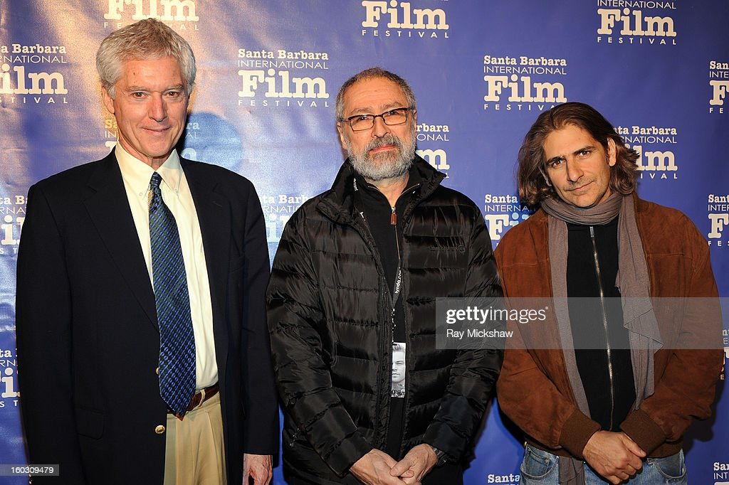 Buddhist practitioner Alan Wallace, director David Cherniak and actor <a gi-track='captionPersonalityLinkClicked' href=/galleries/search?phrase=Michael+Imperioli&family=editorial&specificpeople=209424 ng-click='$event.stopPropagation()'>Michael Imperioli</a> attend a screening of 'Retreat' at the 28th Santa Barbara International Film Festival on January 28, 2013 in Santa Barbara, California.