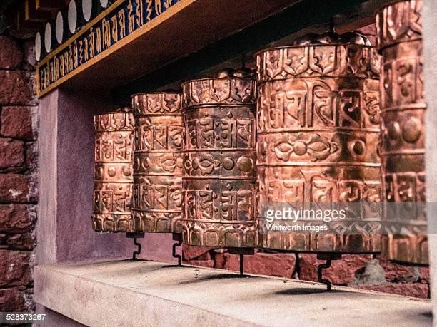 Buddhist prayer wheels, Tengboche monastery, Nepal