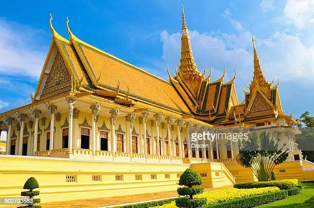 Buddhist royal palace on sunny day in Phnom Phen, Cambodia
