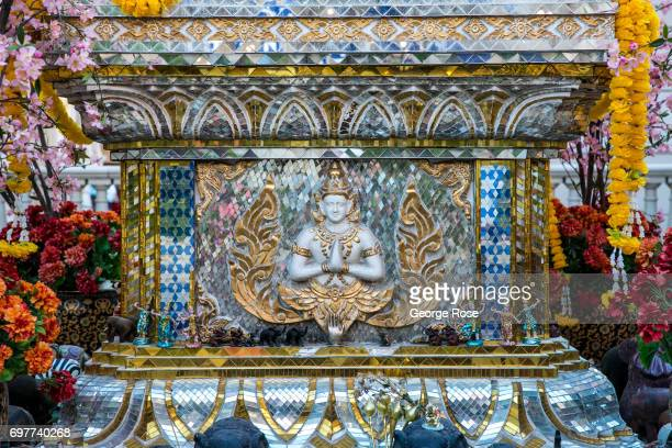Buddhist shrine in a quiet courtyard at Caesars Palace Hotel Casino is viewed on May 31 2017 in Las Vegas Nevada Tourism in America's 'Sin City' has...