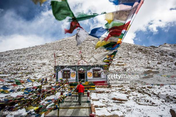 Buddhist shrine is seen at the Chang La pass with an altitude of 5360m on October 5 2012 near to Leh in Ladakh India Ladakh nestled between the...