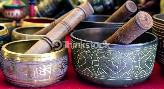 Buddhist singing bowl vase : Stock Photo