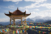 Buddhist temple and flags
