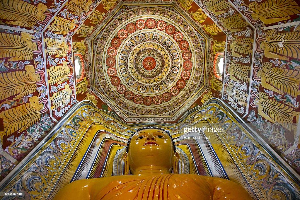 Buddhist temple ceiling in Sri Lanka