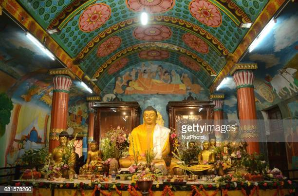 Buddhist temple decorated during Buddha Purnima festival in Kolkata India on Wednesday 10th May 2017 Buddha's birthday is celebrated on the full moon...