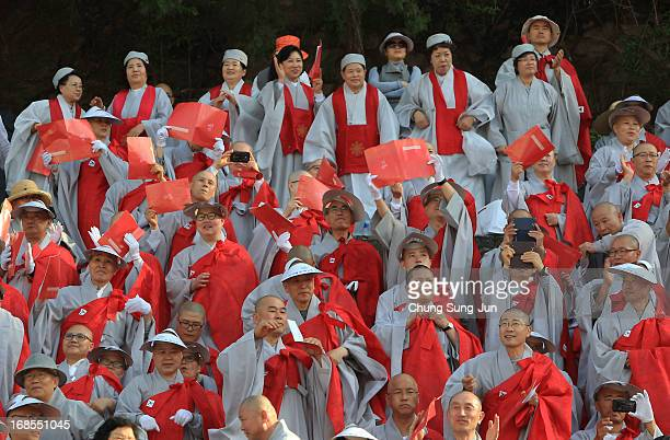 Buddhists monks celebrate the forthcoming birthday of Buddha before their march Dongguk University on May 11 2013 in Seoul South Korea Buddha was...
