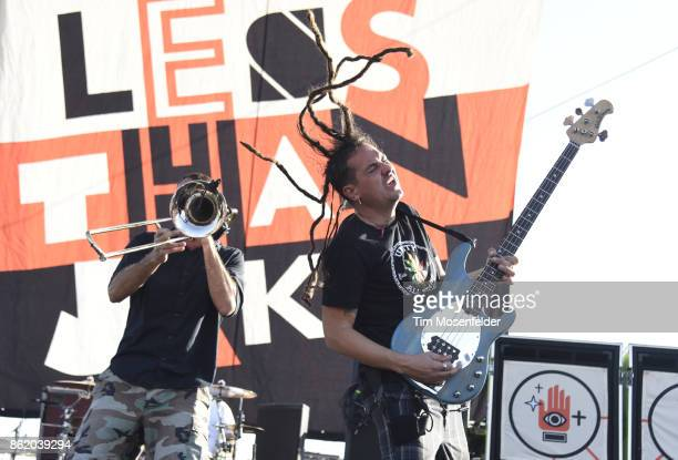 Buddy 'Goldfinger' Schaub and Roger Lima of Less than Jake perform during the Punk In Drublic Craft Beer And Music Festival at California Exposition...