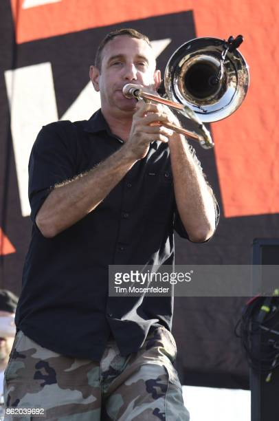 Buddy 'Goldfinger' Schaub of Less than Jake performs during the Punk In Drublic Craft Beer And Music Festival at California Exposition on October 15...
