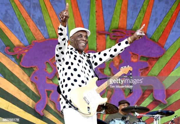 Buddy Guy performs during the 2017 New Orleans Jazz Heritage Festival at Fair Grounds Race Course on May 7 2017 in New Orleans Louisiana