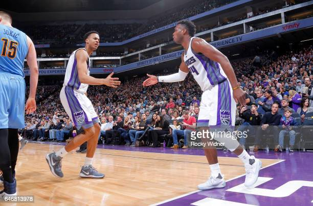 Buddy Hield and Skal Labissiere of the Sacramento Kings celebrate during the game against the Denver Nuggets on February 23 2017 at Golden 1 Center...
