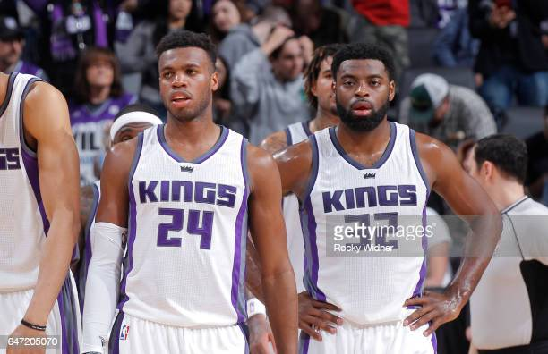 Buddy Hield and Tyreke Evans of the Sacramento Kings look on during the game against the Minnesota Timberwolves on February 27 2017 at Golden 1...