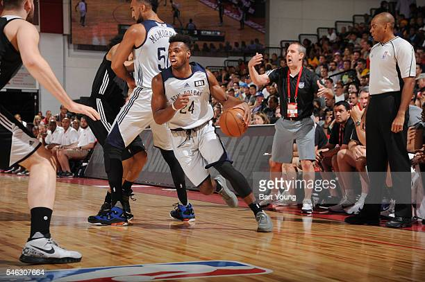 Buddy Hield of the New Orleans Pelicans drives to the basket against the Sacramento Kings during the 2016 Las Vegas Summer League on July 11 2016 at...