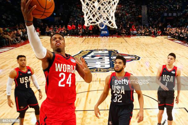 Buddy Hield of the New Orleans Pelicans drives to the basket in the first half against the US Team during the 2017 BBVA Compass Rising Stars...