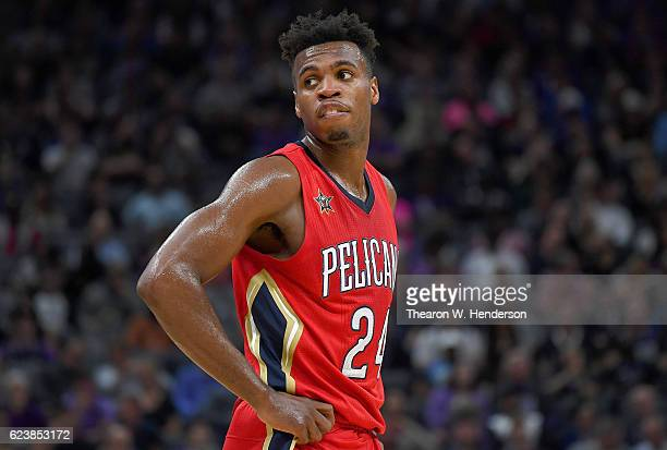 Buddy Hield of the New Orleans Pelicans looks on while there's a break in the action against the Sacramento Kings during an NBA basketball game at...