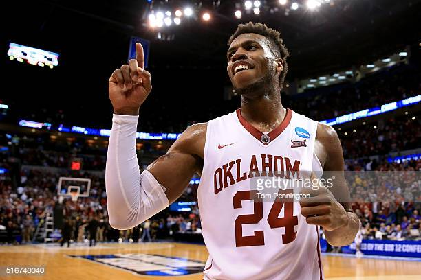 Buddy Hield of the Oklahoma Sooners celebrates after defeating the Virginia Commonwealth Rams with a score of 81 to 85 during the second round of the...