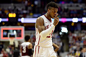 Buddy Hield of the Oklahoma Sooners celebrates the Sooners 7763 victory against the Texas AM Aggies in the 2016 NCAA Men's Basketball Tournament West...